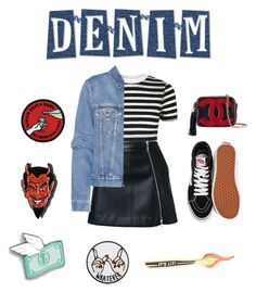 """Denim"" by aflorsanchezq ❤ liked on Polyvore featuring Topshop, Guild Prime, Acne Studios, Skinnydip, Vans, Chanel and PINTRILL"