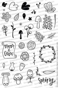 Blooms & Shrooms - Planner Stamp Set | The Sassy Club