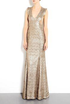 Antique Gold Ursula Sequin Fishtail Maxi Dress by PROJECTD L