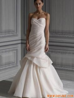 Silk Strapless Draped Bodice Bridal Gown with Trumpet Skirt