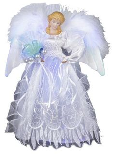 White, silver and blue Angel Christmas Tree Topper by Kurt Adler