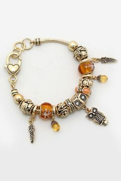 Owl Charm Bracelet in Murano | Women's Clothes, Casual Dresses, Fashion Earrings & Accessories | Emma Stine Limited