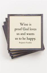 Ben's Garden 'Wine Is Proof' Coaster Set