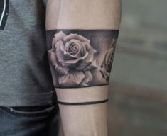 Tattoo photo - Rose tattoo by Jefree Naderali Black and grey realistic tattoo artwork of Rose motive done by artist Jefree Naderali Tattoo Cuff Tattoo, Tattoo Band, Band Tattoo Designs, Forearm Band Tattoos, Rose Tattoo Forearm, Tattoo Designs For Women, Armband Tattoo, Rose Tattoo Man, Band Tattoos For Men