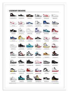 Art-Poster Wall Editions : Legendary Sneakers Infography - Olivier Bourdereau. Format : 50 x 70 cm. #sneaker #baskets #nike #affiche #poster #print #art #walleditions #adidas #infography