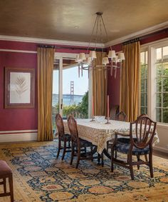 Gold curtains!!!   Ceiling Wallpaper Dining Design Ideas, Pictures, Remodel and Decor
