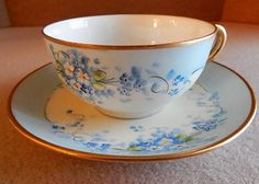 """Stouffer Studio Hand Painted Porcelain """"Forget-Me-Not"""" Pattern Tea Cup & Saucer"""