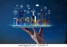 Waiter hand holding an empty digital tablet with Smart city with smart services and icons, internet of things, networks and augmented reality concept , night scene . Innovation, Whatsapp Tricks, Digital Tablet, Smart City, Big Data, Data Data, Augmented Reality, Smart Technologies, Blockchain