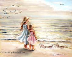 """Personalized version Sisters, Beach, Personalized, Names, Hair color added.""""The Ocean's Lullaby"""" By Laurie Shanholtzer Enthralled with the sounds and feel of the wind and sea."""