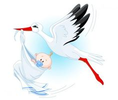 White vector stork carrying a cute baby. Beautiful illustration.