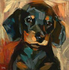 "Daily Paintworks - ""My friendly eyes - a dog, dachshund, sausage dog"" - Original Fine Art for Sale - © adam deda"