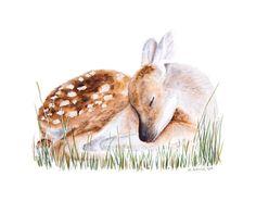 Baby Deer Art Woodland Nursery Decor Watercolor by TinyToesDesign, $24.00 #nurseryart #nurserydecor #projectnursery