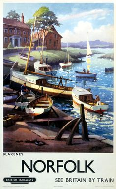 Norfolk Blakeney BR ER Vintage Travel Poster by George Ayling 1960 Posters Uk, Train Posters, Railway Posters, Poster Prints, Retro Posters, Art Prints, Norfolk England, Norfolk Broads, Norfolk Coast