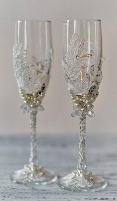 Personalized wedding flutes Wedding champagne glasses Toasting flutes Champagne flutes ivory pearl rustic champagne flutes wedding set of 2 by WeddingBohemianChic on Etsy https://www.etsy.com/listing/468096996/personalized-wedding-flutes-wedding