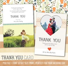 Wedding Thank You Card - PSD Template Fully customizable - 7 x 5 print on Etsy, $5.00
