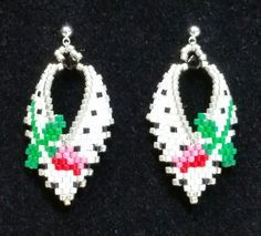 Russian Leaf Earrings with Rosebuds by BeadAndBowtique on Etsy