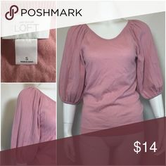 Ann Taylor Loft sweater 3/4 sleeve size small pink Very cute detail on sleeves.  In good condition Ann Taylor Sweaters Crew & Scoop Necks