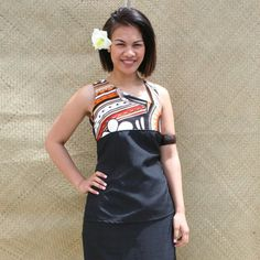 Black and Tapa Print One Shoulder Puletasi