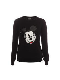 Black Vintage Winking Mickey Sequin Sweater