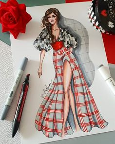 Mode-Illustration der Frau in karierten Outfit, digitale Datei Fashion illustration of woman in checkered outfit digital file Fashion Figure Drawing, Fashion Drawing Dresses, Fashion Illustration Dresses, Dress Illustration, Drawing Fashion, Fantasy Illustration, Digital Illustration, Medical Illustration, Dress Design Sketches