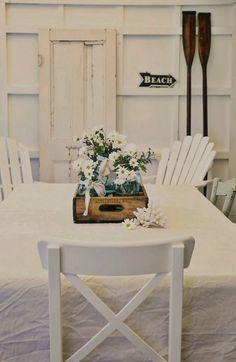 Real Life Beach Decor, Coastal Living & Nautical Decorating Ideas - A Beach Cottage Beach Cottage Style, Beach Cottage Decor, Coastal Cottage, Cottage Chic, Coastal Decor, Coastal Living, Condo Living, Living Room, Deco Table