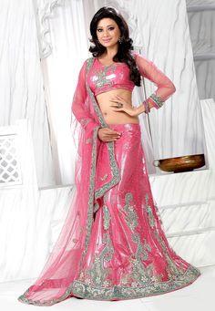Light #Pink Net #Lehenga #Choli with Dupatta @ $277.46