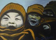 "EvaSchlitzer ""Kinderlachen"", 60 x 80, Acrcl auf Leinen, 2017 Collage, Portrait, My Works, Painting, Art, Children Laughing, Linen Fabric, Artworks, Art Production"