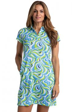 #lorisgolfshoppe Women's Golf Apparel offers a classy collection of golf skorts, shorts, dresses, and golf tops. You gotta see this SOMEDAY MY PRINTS WILL COME (Lime) Bette & Court Ladies Groovy Short Sleeve Print Golf Dress with unique , pretty colors!