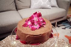 Light and fluffy angel food cake with chocolate hazelnut frosting.