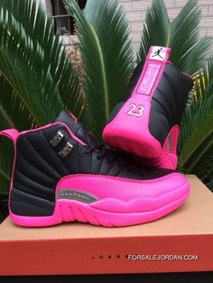 new style 3e05a 9881a Women Air Jordan 12 Black Pink 36-40 Top Deals