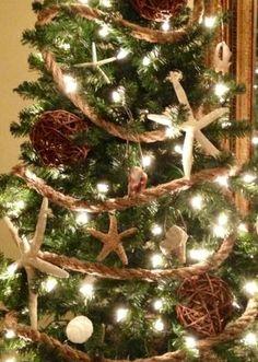 Coastal Christmas Tree - rope garland!