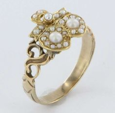 Fine Antique Victorian Seed Pearl Sweet Heart Love 14 Karat Yellow Gold Ring Band Vintage Estate