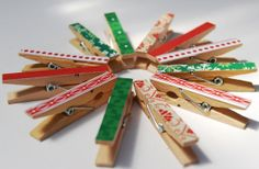 Christmas card holder clothes pin / pegs - mini size