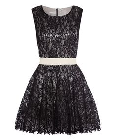 Look what I found on #zulily! Black Lace Belted A-Line Dress by Iska London #zulilyfinds