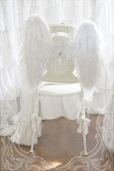 Dining: Christmas idea, attach white wings to chairs. Wing Shop, Angle Wings, Diy Wings, I Believe In Angels, White Wings, White Aesthetic, Angel Aesthetic, Shades Of White, All White