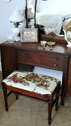 Guest Bedroom Vanity Stool Reupholstered a french farmhouse design