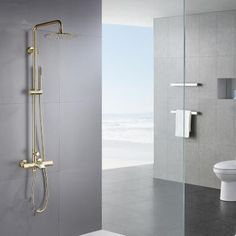 Nickel Brushed Golden 38° Thermostatic Rainfall Rotatable Shower Tap TSG654 Shower Taps, Shower Set, Waterfall Taps, Plating Techniques, Low Water Pressure, Water Spout, Wall Mount Faucet, Rainfall Shower