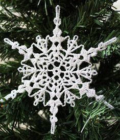 Sparkly Crochet Snowflake Ornament | AllFreeChristmasCrafts.com