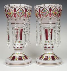 Bohemian cranberry overlay cut glass lustres