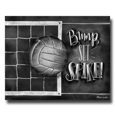 Volleyball Art, Volleyball, Volleyball Decor, Chalk Art, Chalkboard Art, Chalkboard Sign, Bump Set Spike, Volleyball Print, Sports Decor