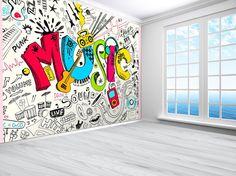 Teenager Music Graffiti Sketch Doodle Wallpaper Photo Wall Mural (11915519) Wallpaper Graffiti, Graffiti Furniture, Music Graffiti, Graffiti Wall Art, Mural Wall Art, Music Wallpaper, Wall Wallpaper, Boy Wall Art, Graffiti Sketch