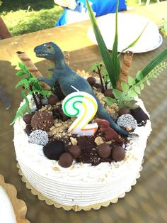 Easy DIY dinosaur cake decorations using dollar store finds: a variety of chocolates, plastic plants, and dinosaurs! Dinosaur birthday party