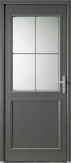Porte d'entrée mixte alu / bois classique mi vitrée Double Vitrage, Main Door, Marquise, Entrance Doors, Home Renovation, Facade, Home Improvement, Sweet Home, Architecture