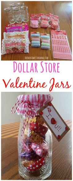 Dollar Store Valentine Jars