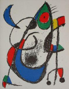 Joan Miró, Lithographie XI, 1975, 1893-1983, peintre, sculpteur, graveur et céramiste espagnol, un des principaux représentants du surréalisme, attrait vers le subconscient, l'esprit enfantin, fortes influences fauvistes, cubistes et expressionnistes, avant d'évoluer vers une peinture plane avec un côté naïf