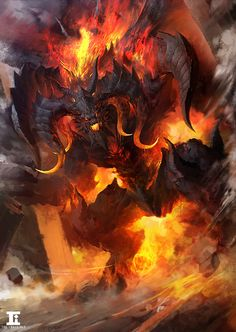 Inflammation of the magic – fantasy concept by Kylin Li Dark Fantasy Art, Fantasy Artwork, Dark Art, Demon Art, Monster Art, Fantasy Creatures, Mythical Creatures, Illustration Fantasy, Balrog