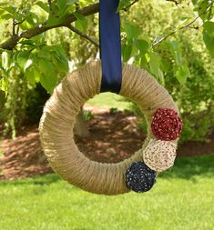 Patriotic Wreath, 4th of July Wreath, Red White and Blue Wreath, Summer Wreath, Jute Wreath, Patriotic Decor, Country Wreath, Rustic Wreath on Etsy, $35.00