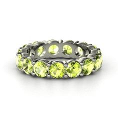 Band of Brilliance, Sterling Silver Ring with Peridot from Gemvara
