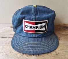 Vintage 1980s CHAMPION Spark Plugs Denim Snapback Trucker Hat Jean Cap  Canada  VictoryCaps  BaseballCap 7cfc8a82be68