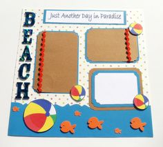 Scrapbook Layout- Beach- Premade- 2 Page- 3 D- Scrapbook Pages- 12 x 12- Bright- Colorful- Handmade